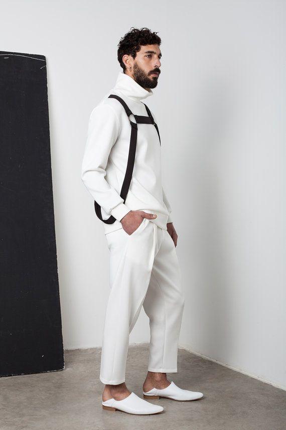Mens maglia Mens maglione bianco Mens dolcevita di EliranNargassi