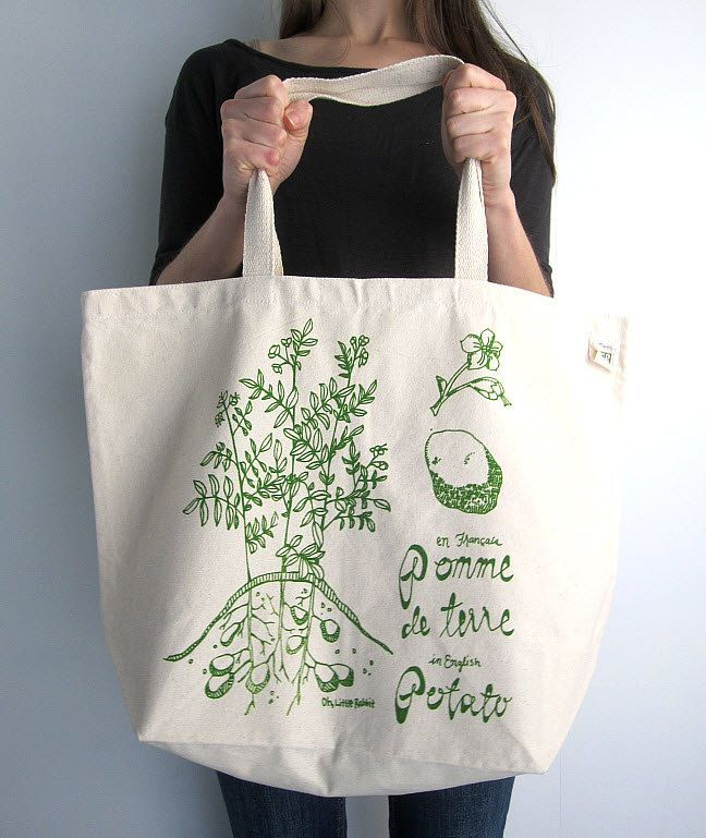 Recycled Cotton Tote Bag - Screen Printed Oversized Reusable Grocery Bag - Canvas Shopper Tote - Botanical Print - Potato Plant. $17.50, via Etsy.