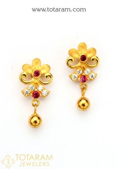 Gold Earrings For Women Online Indian 22k Back Stud South With