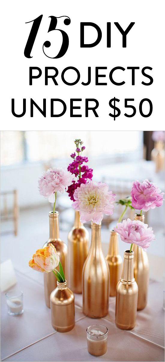 15 Popular wedding DIY projects all under $50.