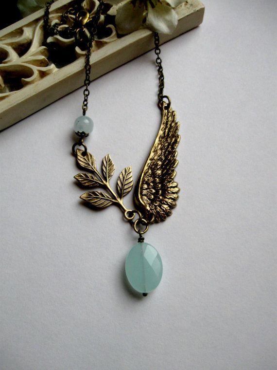 Brass wing necklace blue amazonite quartz brass by botanicalbird