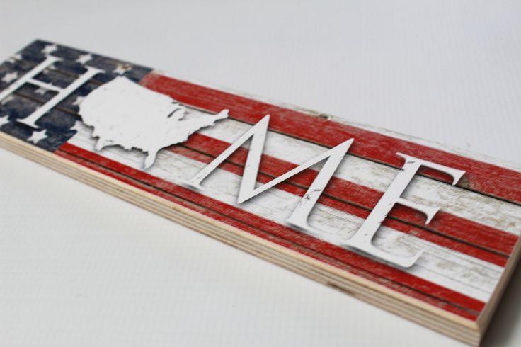 USA Flag Home Sign