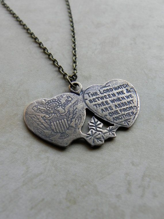 Military Religious Medal Necklace  Mizpah  by FaithBeads on Etsy, $25.00