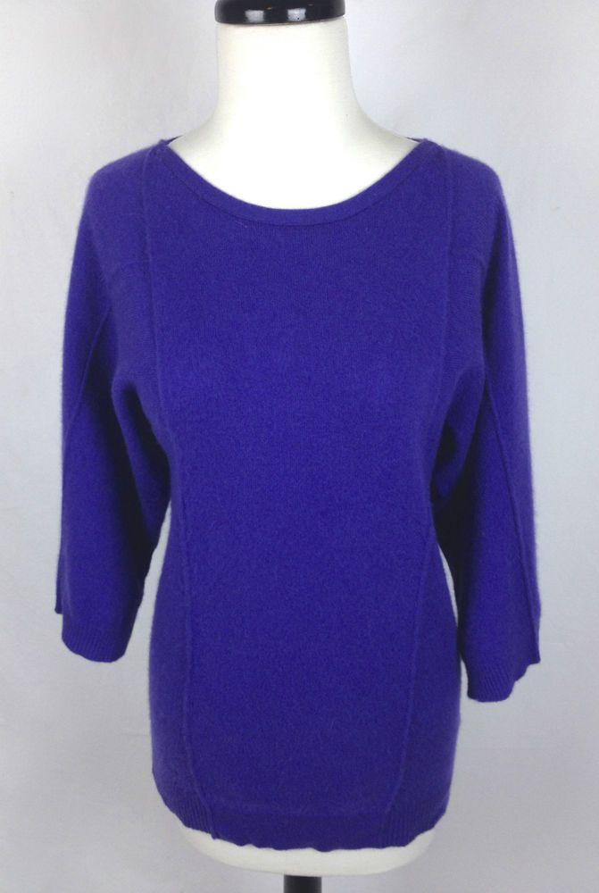 Cashmere Sweater Womens Purple Short Sleeve Tunic S #Cashmere #Tunic
