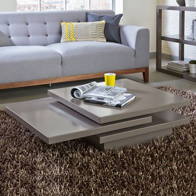 Rotate Square Coffee Table Stone