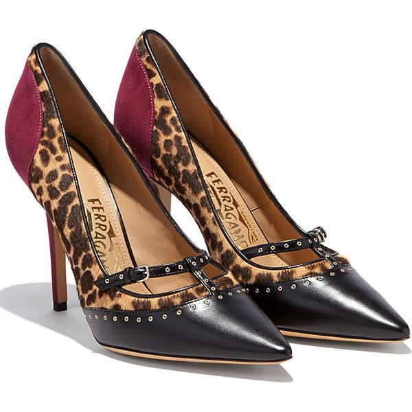 Salvatore Ferragamo High-heeled shoes found on Polyvore featuring shoes, pumps, heels, black vin leopard, leather sole shoes, leopard heels shoes, black heel pumps, leopard print shoes and black high heel pumps