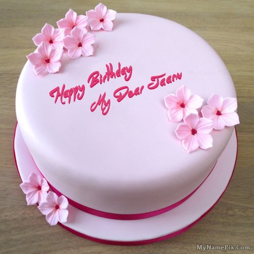The Name My Dear Jaanu Is Generated On Pink Birthday Cake With