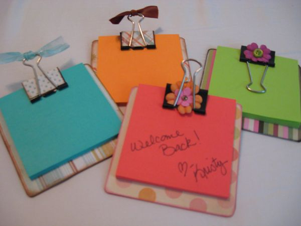 sticky note holders - make using coaster, binder clips & scrapbook paper & ribbon...Cute gift idea