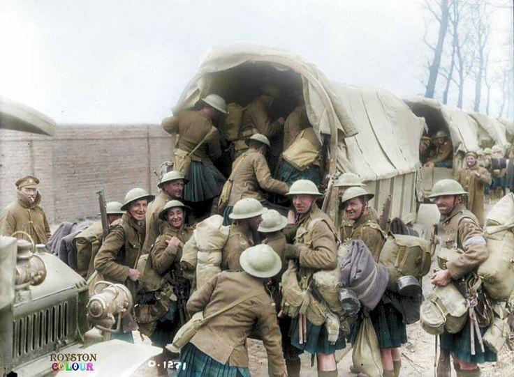 Canadian Scottish Regiment moving on trucks to the Battle Of Vimy Ridge, 1917