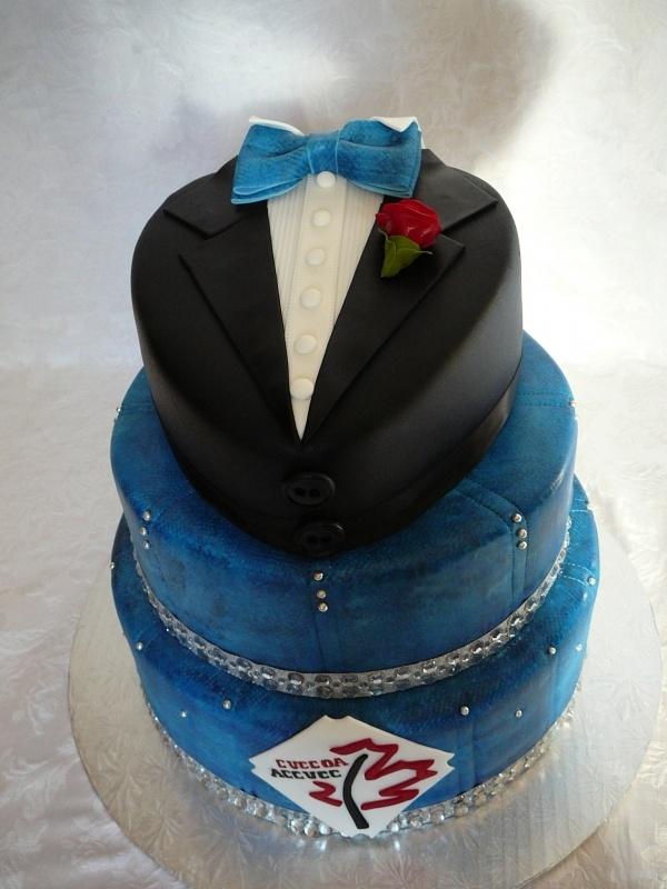 Denim and diamond tuxedo Cake