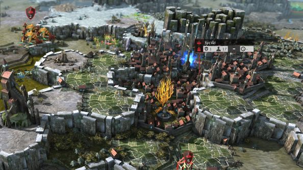 Isometric 3D strategy game Endless Legend with hexagonal voxel-type landscape
