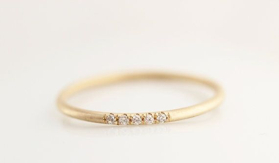 14k Solid Matte Yellow Gold Diamonds Ring In Micro Pave Set,Half Eternity Diamond Band,Wedding Diamond Band With Satin Finished