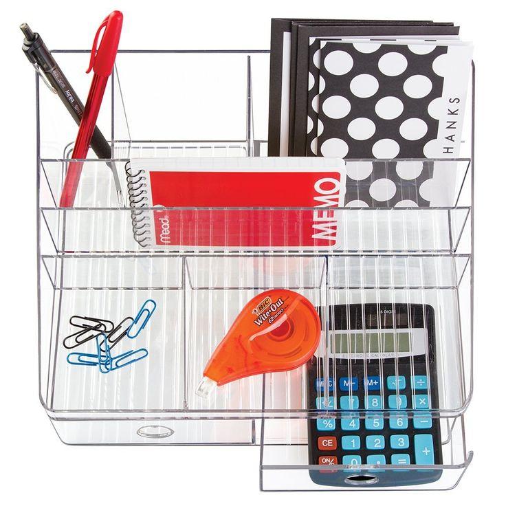 mdesign Matériel de bureau/Organiseur de bureau pour ciseaux, stylos, stylo bille, surligneur, ruban adhésif - 2 tiroirs Transparent: Amazon.fr: Fournitures de bureau