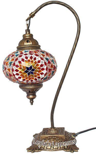 17 CM RAINBOW STAR MOSAIC TURKISH SWAN NECK TABLE TOP LAMP $80 WWW.LEYLASLANTERNS.COM