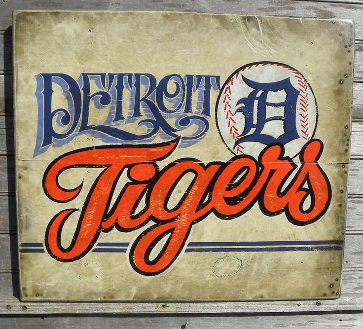 Detroit Tigers baseball Sign, wooden, original, hand lettered, faux vintage sign, sports decor. $160.00, via Etsy.