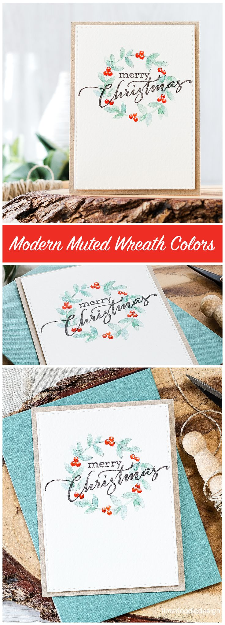 Comparing classic and modern color schemes for a CAS Christmas wreath design | #Debby_Hughes