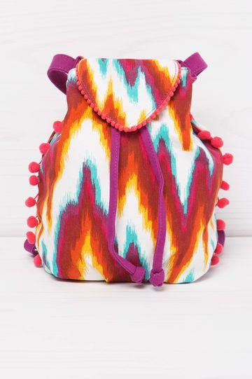 Zainetto cotone con fantasia, Multicolor