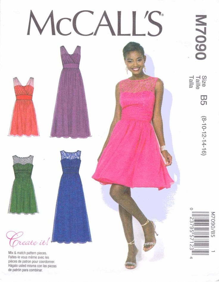 McCall's Sewing Pattern 7090 Women's Plus Size 18W-24W Create It! Lined Long Short Formal Dress Gown  --  Need a different size or pattern? Check out our store www.MoonwishesSewingandCrafts.com for 8000+ uncut sewing patterns all sizes and styles!