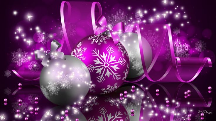 Holiday Christmas  Holiday Christmas Ornaments Purple Silver Sparkles Wallpaper
