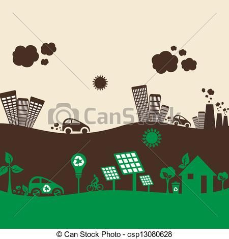 Vector - eco city and polluted city - stock illustration, royalty free illustrations, stock clip art icon, stock clipart icons, logo, line art, EPS picture, pictures, graphic, graphics, drawing, drawings, vector image, artwork, EPS vector art
