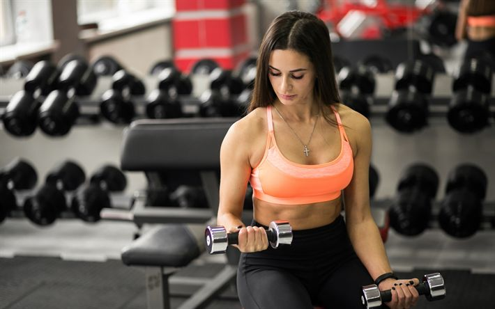 Download wallpapers gym, training, fitness, bodybuilding, dumbbells, biceps exercises, sportswoman