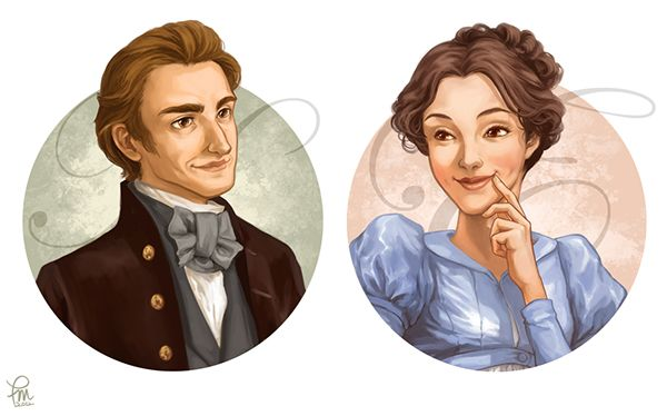 A paid commission to illustrate 16 heroines and heroes from the selective works of Jane Austen for a card game
