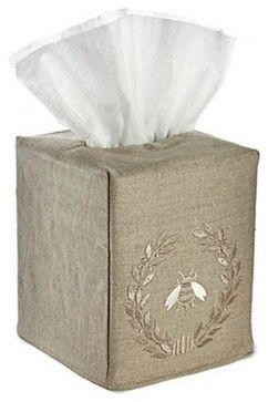 Natural Linen Tissue Box Cover, Beige Bee Wreath traditional bath and spa accessories. Bzzz