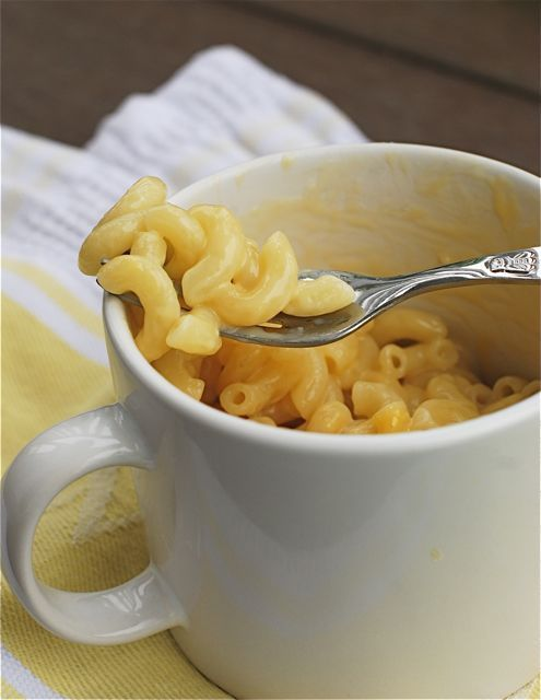 Instant Mug o' Mac & Cheese in the Microwave: 1/3 cup pasta, 1/2 cup water, 1/4 cup 1% milk, 1/2 cup shredded cheddar cheese- plus none of that junk they add in there either!