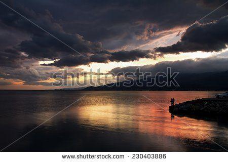A sunset after rain at Akcay/Turkey