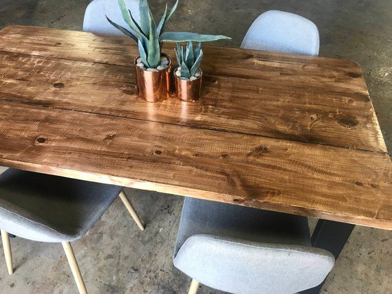 Measurements Shown 60 X 30 X 30 Seats 6 People With Standard Size Chairs This Contemp Reclaimed Wood Dining Table Wood Dining Table Rustic Wood Dining Table