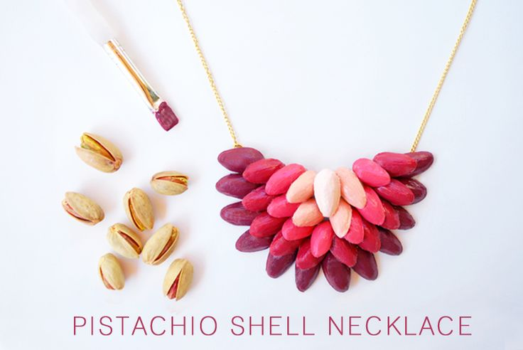 painted pistachio shell necklace