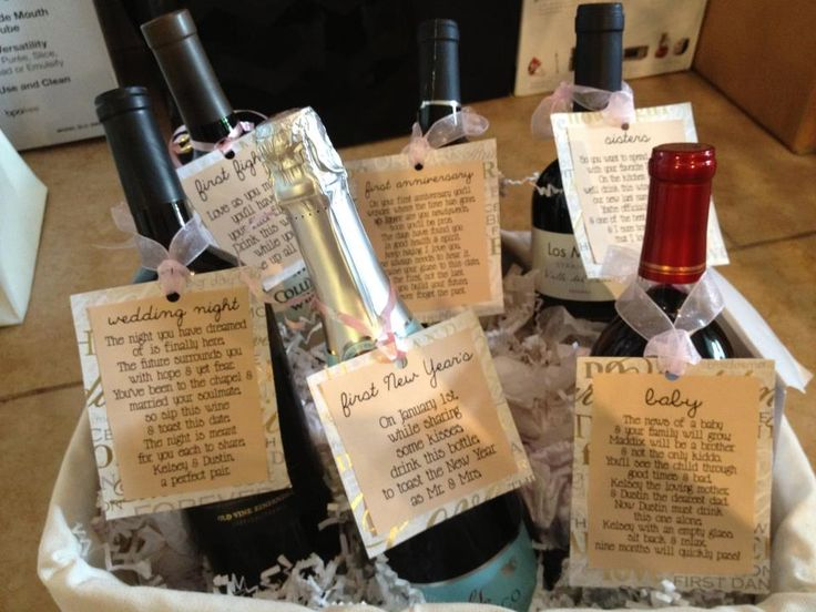 Bridal Shower Gift - bottle of wine with a poem for each of their firsts: Wedding night, First Fight, NYE, First Anniversary, Baby & one to drink with me ;)