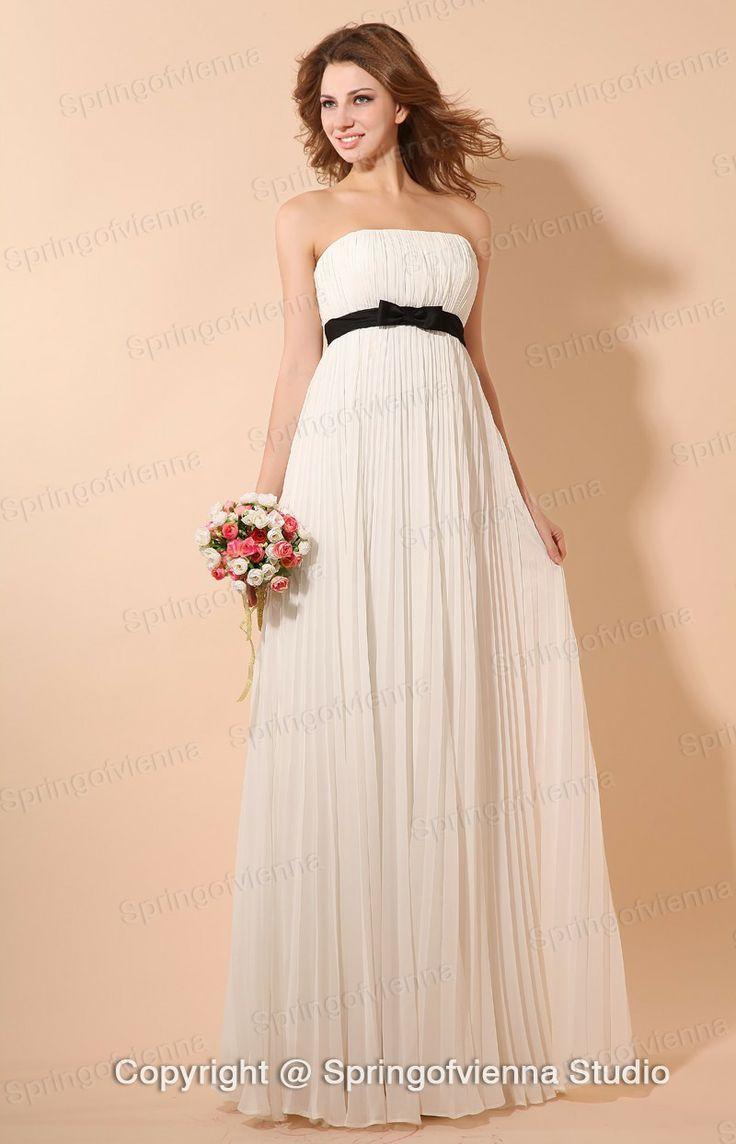 40 best bridesmaid dress id like to have images on pinterest 2013 style faddish flat white pleated chiffon bridesmaid dress with black sash us 9099 ombrellifo Choice Image