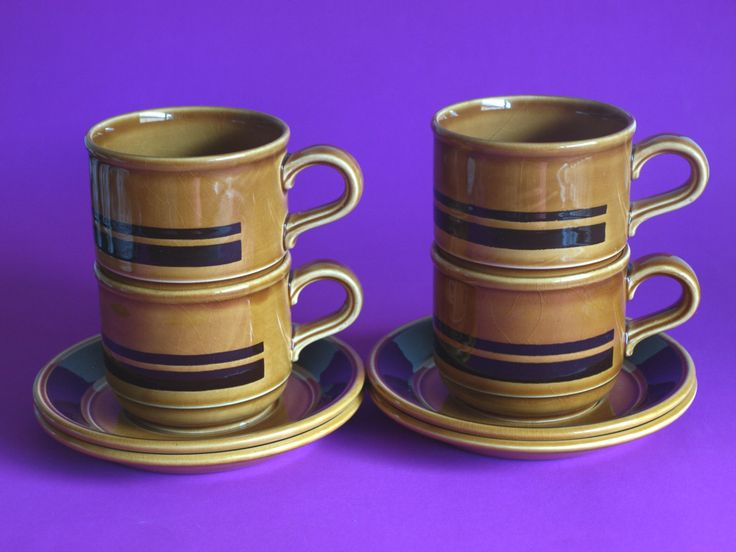 Staffordshire Potteries Kiln Craft Honey Mustard Brown Side Plates Tea Cups and Saucers - Brown Stripe Teacups - Set of 4 - Made in England by FunkyKoala on Etsy