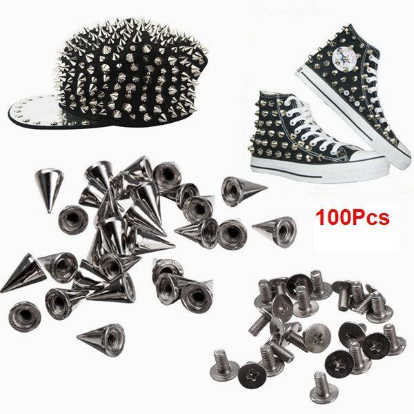 100Pcs 10mm Metal Cone Bullet Spike Screw Rivet Studs DIY Accessories
