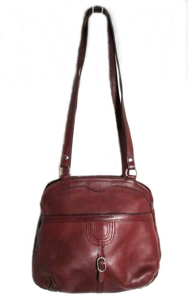 Vintage Genuine Redwood Brown Cowhide Leather Metal Zipper retro shoulder bag  eBay