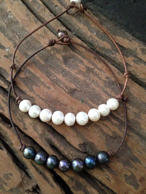 Leather and Freshwater Pearl Necklace by ChristianOPearls on Etsy, $150.00