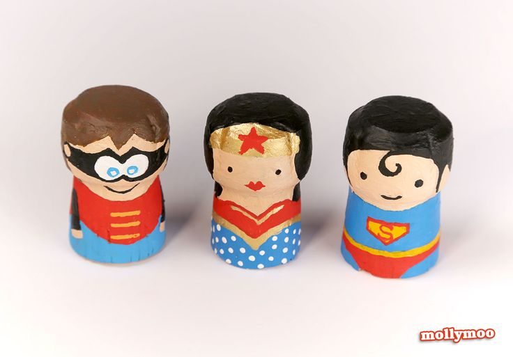 Painted wine cork superheroes
