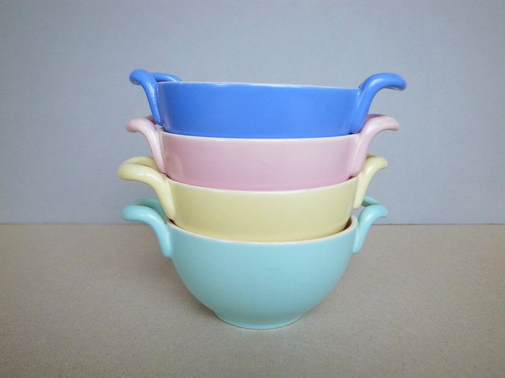 Dutch Vintage 50's - 60's Pastel Color Soup Bowl by De Driehoek Huizen Mid Century Modern by PineBook on Etsy