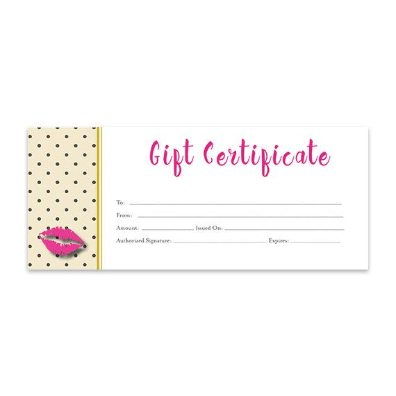 Blank Gift Certificate Download Gold Pink With Lips , Direct Sales,  Premade, Consultant,