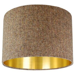 Brown Harris Tweed Lampshade Choice Of Metallic Lining - living room