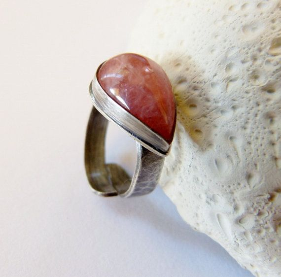 Rhodochrosite silver ring handcrafted coctail ring by Mirma, $74.00