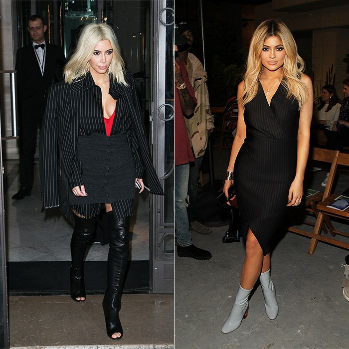All the Times Kim Kardashian and Kylie JennerLooked Alike - #Girlboss Pinstripes  - from InStyle.com
