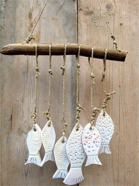 Keramik Garten Windspiel 6 Fische aus Keramik mit von gedemuck