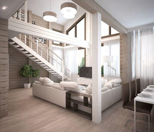 КУхня-гостиная в двухэтажном в доме из бруса. Казахстан. Гостиная