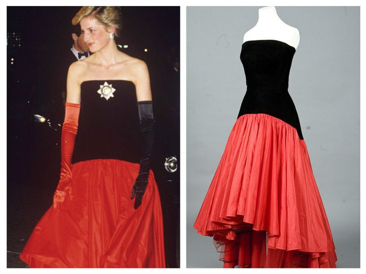 This flamenco-style dress, with its distinctive red taffeta skirt, by Murray Arbeid was another daring choice for the Princess of Wales — not least because she wore it with one black and one red ev…