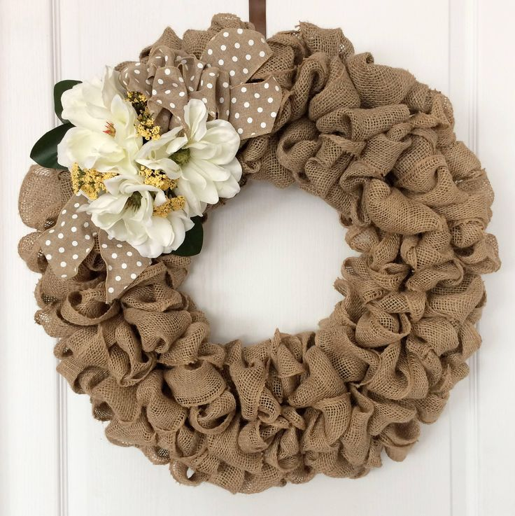 Burlap Wreath with White Magnolia Flowers and Polkadot Bow by BurlapButtonsAndLace on Etsy