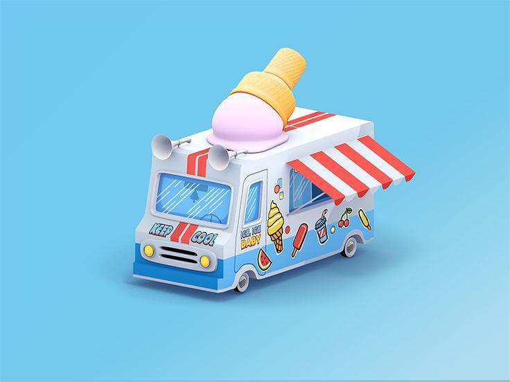Camion de helados   – 3d graphic