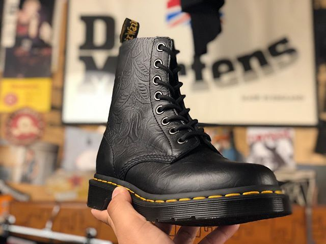 black pascal floral emboss 8 eye boots