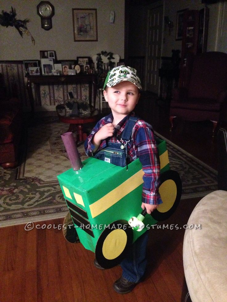 Cool Tractor Farmer Cardboard Box Costume... This website is the Pinterest of costumes